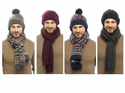 faad9edbebe Mens Luxury Fairisle Cable Knit Slouch Beanie Bobble Hat + Scarf Gift Set  Winter
