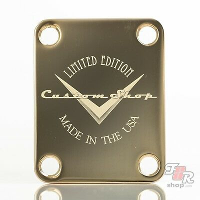 Engraved Guitar Neck Joint Heel Plate CHROME #2067 Standard 4 Bolt