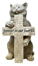 Stone Effect Graveside Memorial Pet Cat Figurine Marker Cross Grave Ornament