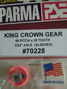 Parma-70228-King-Crown-Gear-28-Tooth-48-Pitch-Sleeved-For-3-32-034-Axle-Qty-1