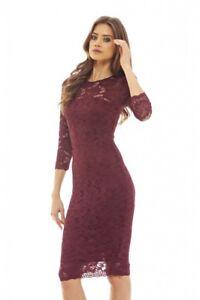 d58e40c6f0 AX Paris Womens Wine Bodycon Midi Dress Burgundy Lace Long Sleeve ...