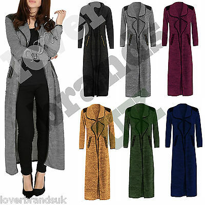 New Women Ladies Open Waterfall Long Sleeve Cardi Maxi Cardigan Zip Patch UK8-14