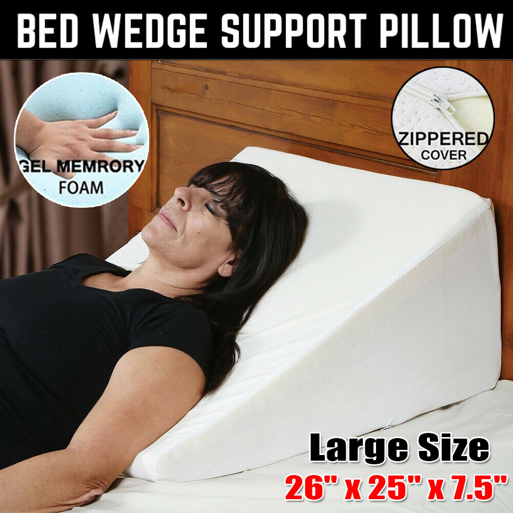 Wedge Incline Memory Foam Bed Wedge Pillow Back Support Acid Reflux Sleeping 2