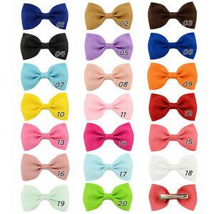 20X-Hair-Bows-Band-Boutique-Alligator-Clip-Grosgrain-Ribbon-For-Girl-Baby-KiCSH