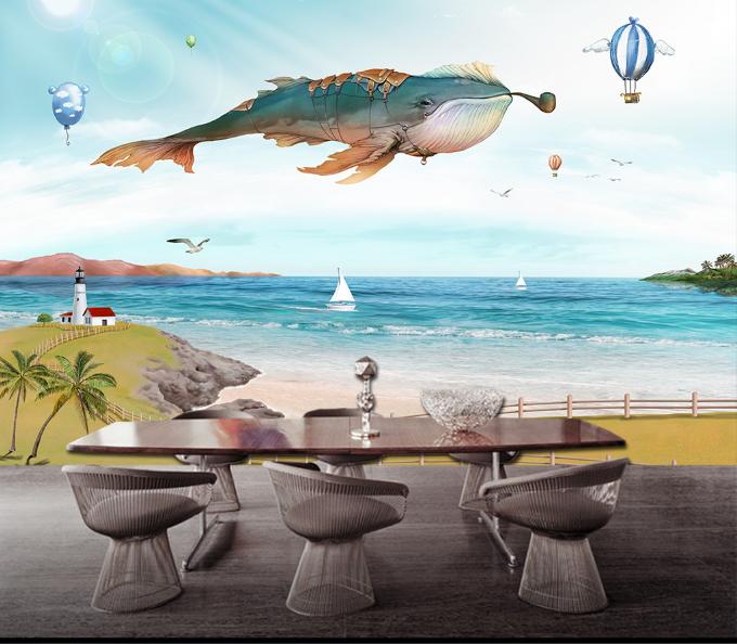 3D Kite Fish Beach 87 Wall Paper Murals Wall Print Wall Wallpaper Mural AU Kyra