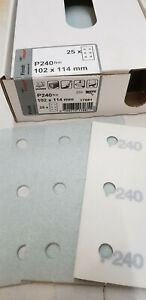 25 x profi Schleifpapier 102x114 mm, Klett,Schleifstreifen,P240,6Loch,Restposten