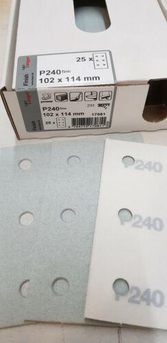 25 x profi Schleifpapier 102x114 mm Klett,Schleifstreifen,P240,6Loch,Restposten