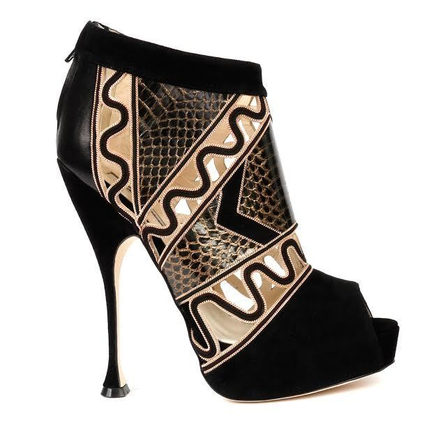 SUPER GORGEOUS!!! BRIAN ATWOOD  BLACK&GOLD CHAIN&PYTHON ANKLE BOOTS EU 40 US 10
