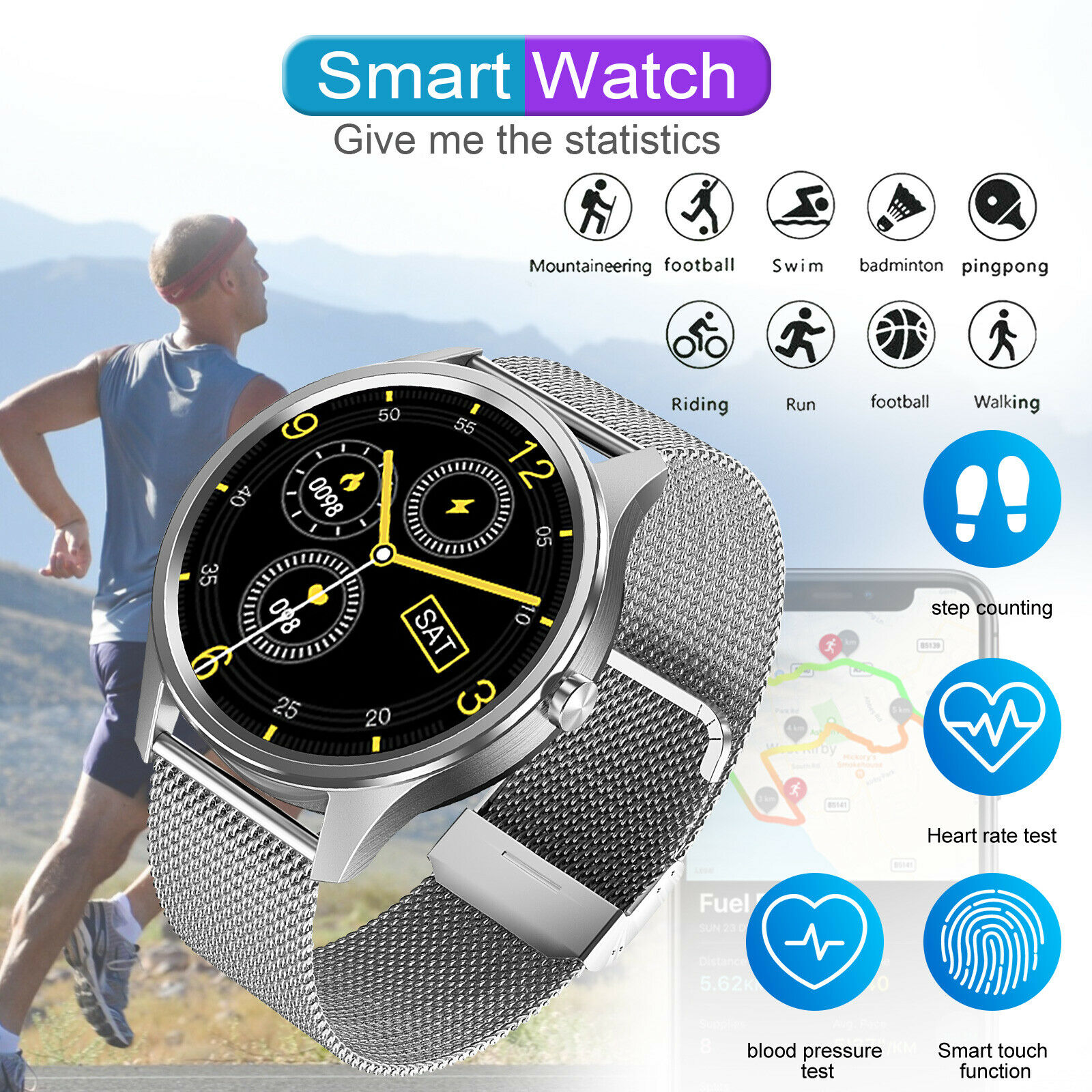 Fashion Smart Watch Band Heart Rate Oxygen Blood Pressure Activity Sport Tracker
