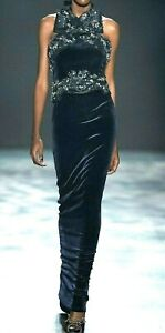 New-6-995-Marchesa-Velvet-Embroidered-Bow-Peplum-Runway-Dress-Gown-IT-42-US-6