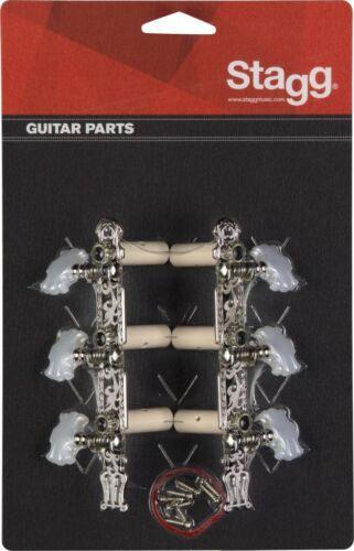 Schrauben Mechaniken für Klassikgitarre mit genuteter Kopfplatte Set inkl