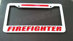 WHITE-BRIGHT-FIREFIGHTER-RED-Line-License-Plate-Frame-thin-REFLECTIVE-fire