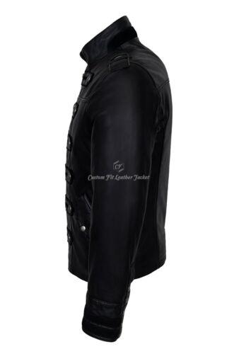 /'BATTALION/' Mens Leather Jacket Black 100/% Lambskin Military Studded Jacket 2212