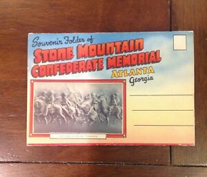 Souvenir-Postcard-Folder-Stone-Mountain-Confederate-Memorial-Atlanta-Georgia
