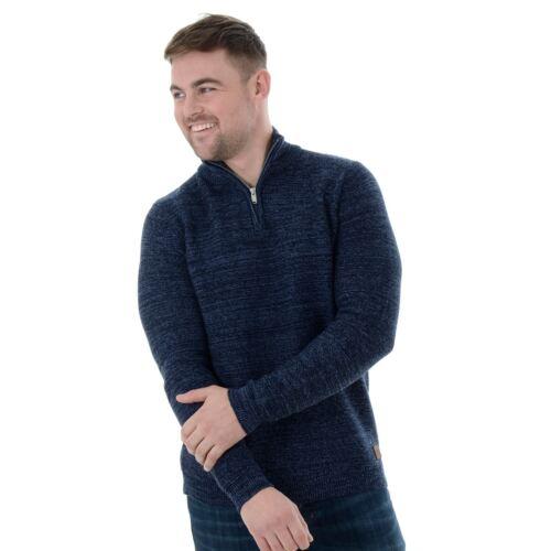 Benson Mens Threadbare 1//4 Zip Funnel Neck Cotton Marl Sweater Jumper S-XXL