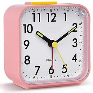 Tisaika Silent Alarm Clocks Bedside Non Ticking Battery Powered Table Clocks for