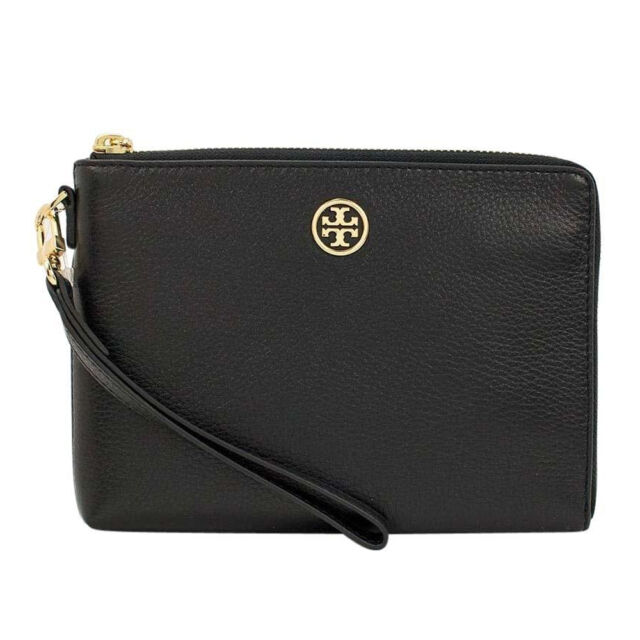 24aed0687dee0 Tory Burch Landon Large Black Leather Wristlet 100 Authentic ...