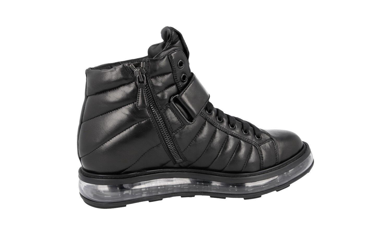 Autorización de lujo Prada alta alta alta Top tenis zapatos 1T334E Negro Air 37,5 38 Reino Unido 4.5 d73fb9