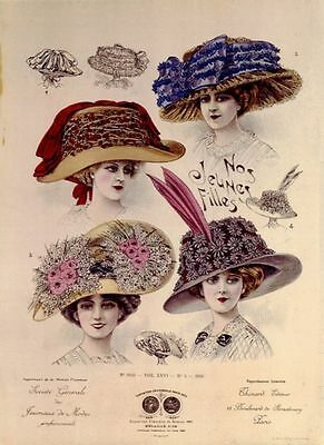Hats from Expostion Universalle, Paris (1900) LARGE METAL TIN SIGN POSTER