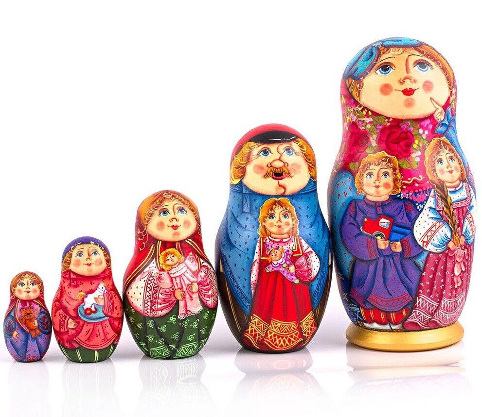 9  grandes Muñeca de madera de Anidación Muñeca Rusa Pintado a Mano Matryoshka 5 piezas