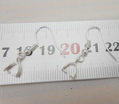20-100X Wholesale Findings 925 Sterling Silver French Hook Pinch Bail Ear Wires