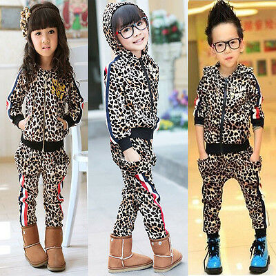 2Pcs Baby Boys Girls Leopard Zipper Hooded Coat Tops + Pants Kids Casual Outfits