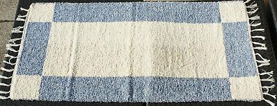 """Teppich Badteppich Gewebt """"vierecke"""" Natur/blau 135 X 65 Cm Teppich Waschbar Teppiche"""