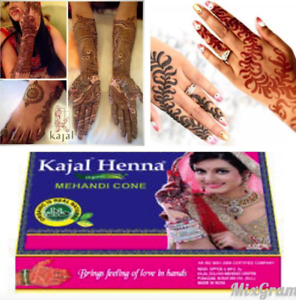 Fresh Box 12 Natural Organic Henna Cones Dark Brown Bridal Kajal