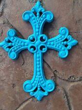 TURQUOISE cast iron Fancy Jewel CHRISTIAN hanging wall CROSS