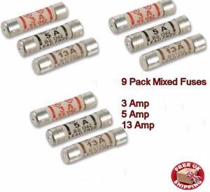 Status Domestic Household ceramic mixed fuses 3amp 13amp 9 pack 5amp