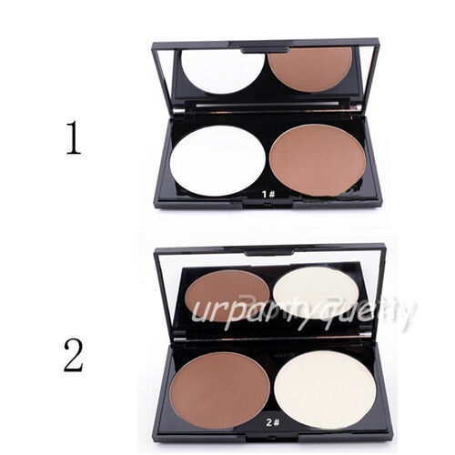 2 Colors Coffee White Shading Cover Contour Concealer Foundation Powder 2Pattern