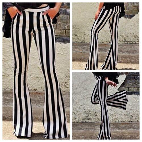 Womens Ladies Striped Slim High Waist Wide Leg Long Flared Bell Bottom Pants