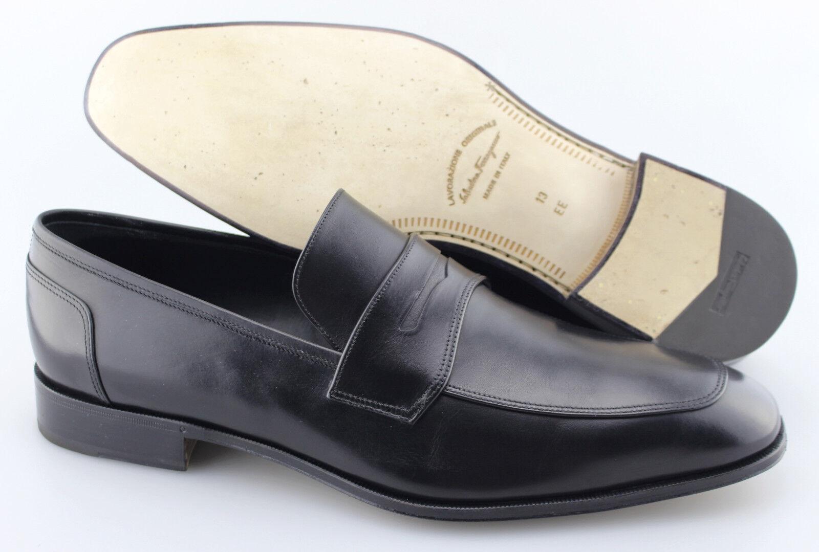 Men's SALVATORE FERRAGAMO'Lionel 'nero Leather Lofers  Dimensione US 13 - 2E  prezzo più economico