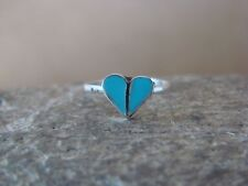 Native American Jewelry Sterling Silver Turquoise Heart Ring, Size 2