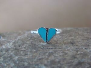 Native-American-Jewelry-Sterling-Silver-Turquoise-Heart-Ring-Size-2