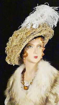 Edwardian Ruffled Horsehair and Ostrich Poet's Hat Belle Epoque Sz 6 7/8