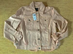 Women-039-s-Abercrombie-A-amp-F-Destroyed-Denim-Jacket-Size-Large-Pink-New-With-Tags