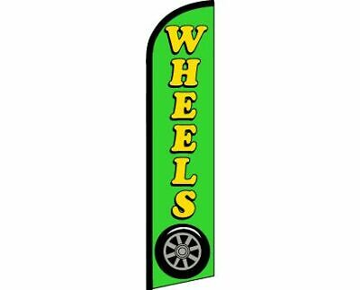 WHEELS Green Windless Full Curve Top Advertising Banner Flag Tires New Used Rims