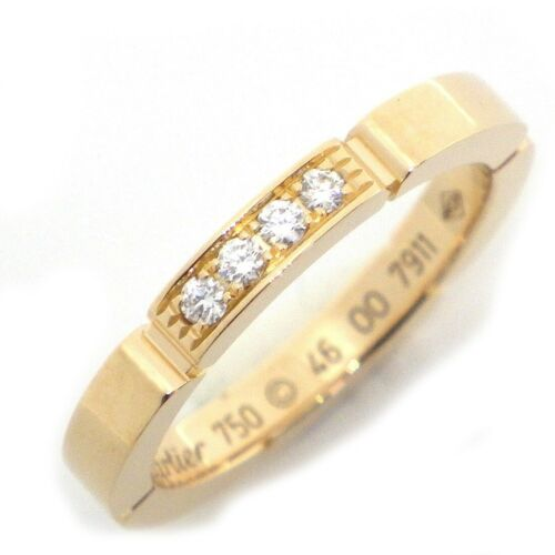 Auth Cartier Maillon Panthere Diamond Ring 750(18K
