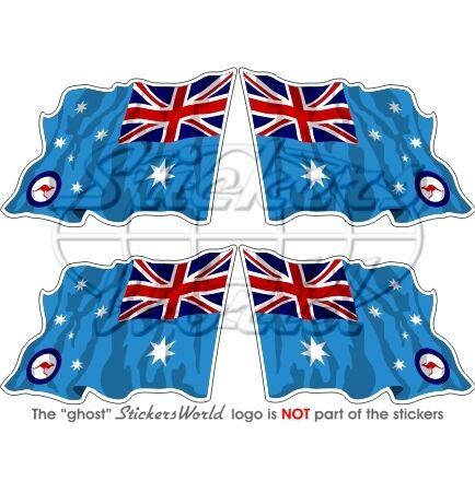 AUSTRALIEN Luftwaffe Wehende Flagge 50mm Sticker Vinyl Aufkleber Fahne x4
