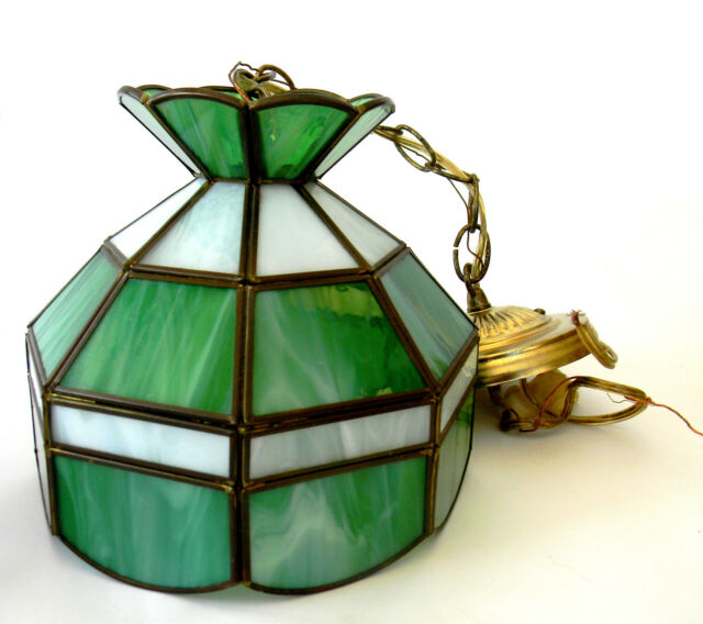 Hanging Stained Glass Green Ceiling Lamp Small 8 in Dia Vintage