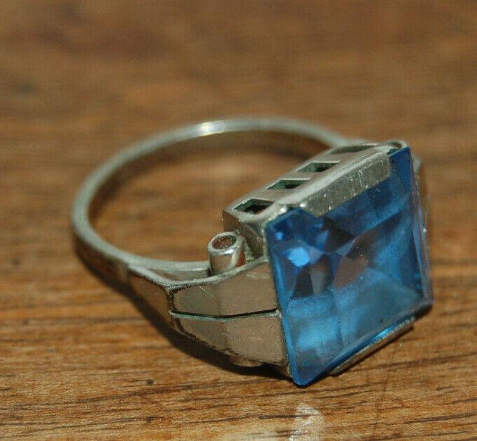 Anello antico silver e pietra blue claire art deco