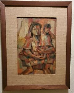 Miguel-Galvez-039-63-Oil-Painting-Of-Woman-And-Child-Framed-16x20