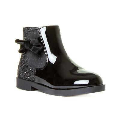 Girls Black Patent Glitter Ankle Boot