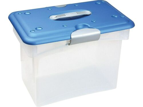 Homz Tote-N-Go Plastic Tote Letter Size Clear//Blue 7882STMB.04
