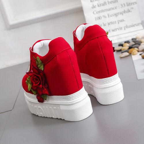 Women/'s Ladies Chunky Platform Wedge Heel Shoes Floral Slip On Casual Sneakers