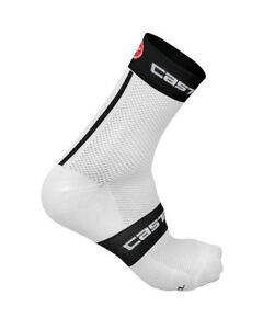 Castelli-FREE-9-cm-Tall-Cuff-Cycling-Bicycling-Socks-WHITE-BLACK-RED-One-Pair