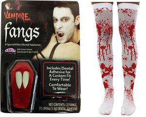 Vampiro-Colmillos-amp-Blanco-Sangre-Manchado-Medias-Set-Halloween-Disfraz