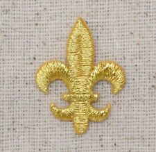 Iron On Embroidered Applique Patch SMALL Gold Fleur De Lis Saints Mardi Gras