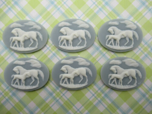 White Horses on Blue Cameos 40X30mm Resin Cabochons Mother /& Baby Western Qty 6